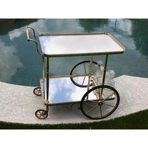 French Mid Century French Hollywood Regency Brass Bar Cart W/ Mirrored Trays For Sale - Image 3 of 12