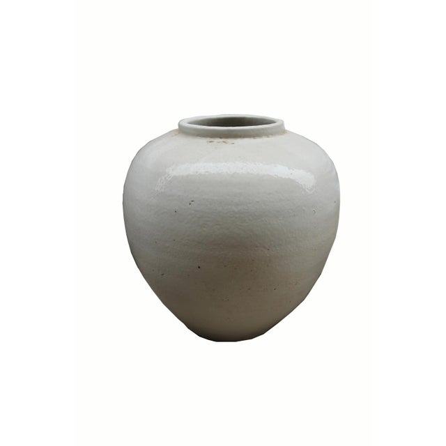 Asian Chinese White Ceramic Pottery Vase For Sale - Image 3 of 4