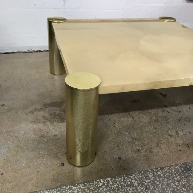 Metal Enrique Garcel Goatskin and Brass Coffee or Cocktail Table For Sale - Image 7 of 13