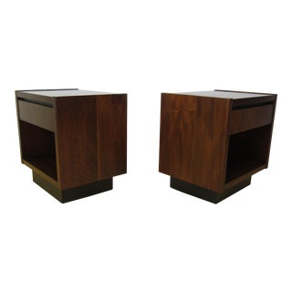 1960s Mid Century Modern Lane Furniture Walnut Plinth Base Nightstands - a Pair
