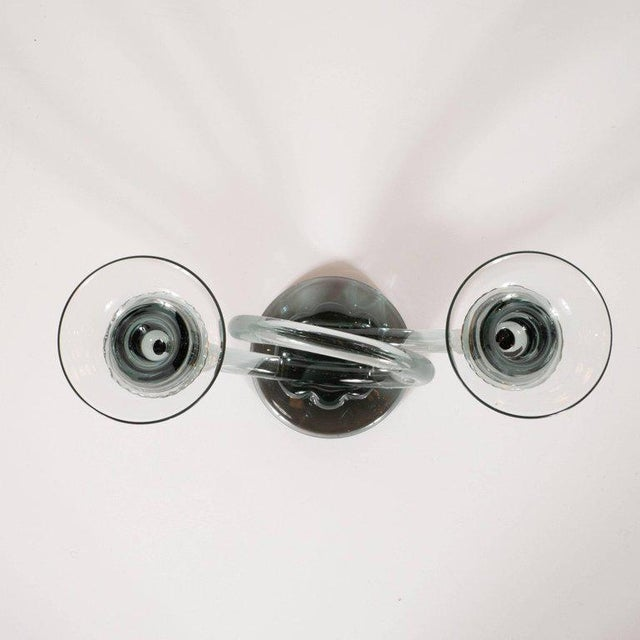 Mid-Century Modern Pair of Mid-Century Modern Trumpet Form Smoked Grey Clear Glass Candlesticks For Sale - Image 3 of 13