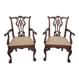 1990s Vintage Kindel Chippendale Carved Mahogany Armchairs- A Pair For Sale