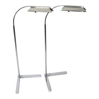 Vintage Cassela Floor Lamps Adjustable Nickel Plated - a Pair For Sale