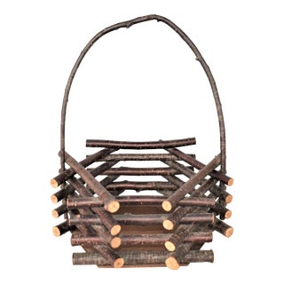 Vintage Adirondack Twig Basket For Sale