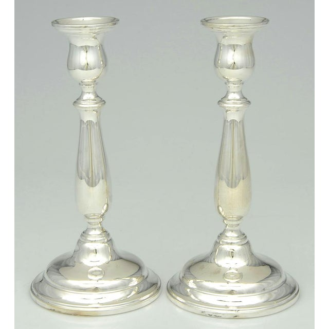 "1950s International Silver Lord Saybrook Sterling 9"" Candlesticks - a Pair For Sale In Greensboro - Image 6 of 6"