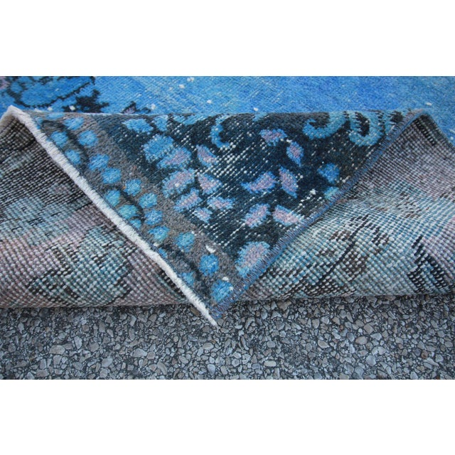Vintage Distressed Turkish Royal Blue Overdyed Rug - 4′1″ × 9′4″ For Sale - Image 4 of 4
