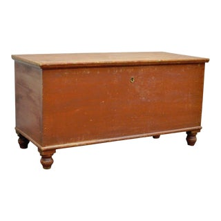 Antique Pennsylvania Dovetailed Red Painted Rustic Primitive Blanket Chest Trunk For Sale