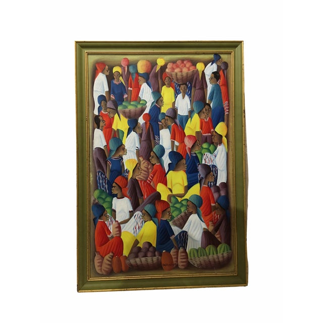 Oil on Canvas Painting of a Haitian Market by Andre Guervil For Sale - Image 10 of 10