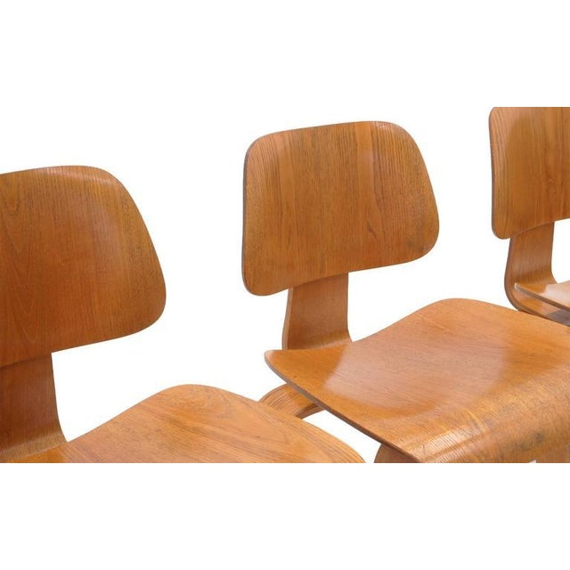 Mid-Century Modern Set of Four Vintage Eames DCWS Add Our Red Eames Dining Chairs to Make Six For Sale - Image 3 of 10