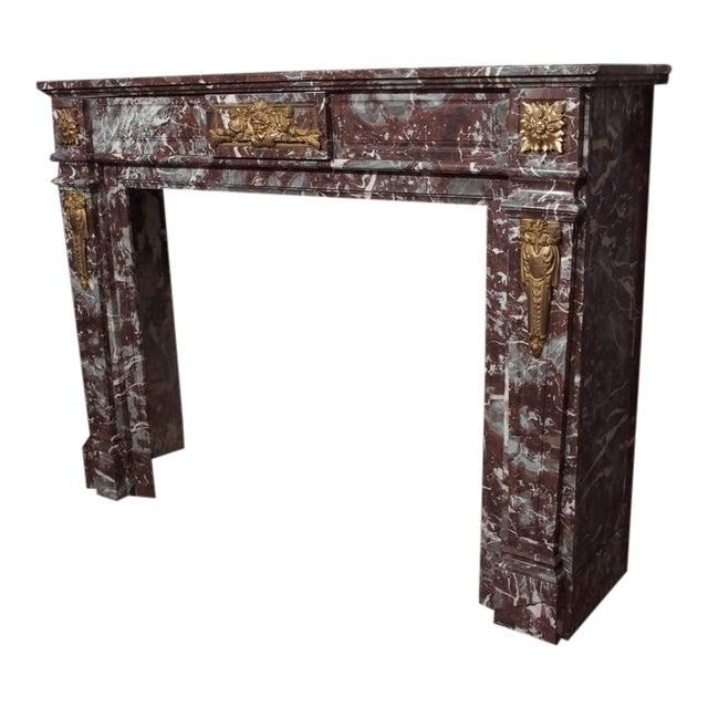 Antique French Bronze Mounted Marble Mantle For Sale