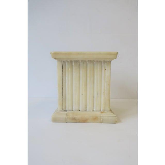 White Italian Alabaster Marble Column Pedestal For Sale - Image 8 of 13