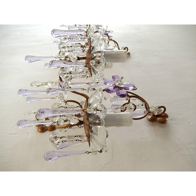 Purple French Murano Drops Lavender Crystal Flowers Three-Light Sconces, circa 1920 For Sale - Image 8 of 10