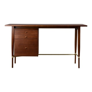 1950s Mid-Century Modern Paul McCobb Mahogany and Brass Calvin Writing Desk For Sale