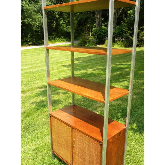 Brown Vintage Mid-Century Chrome and Walnut Wall Unit For Sale - Image 8 of 9
