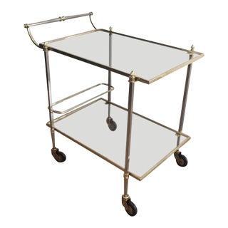 Brushed Metal and Brass Bar Cart by Maison Jansen
