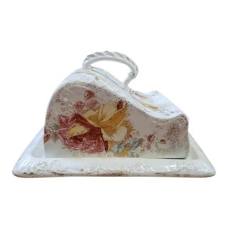 Late 19th Century Porcelain Butter Dish W/ Roses Pattern For Sale