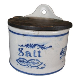 Early 20th Century Vintage Stoneware Salt Canister For Sale