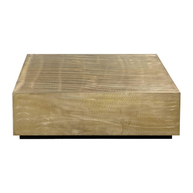 Modern Metallic Brass Finish Coffee Table For Sale - Image 4 of 4
