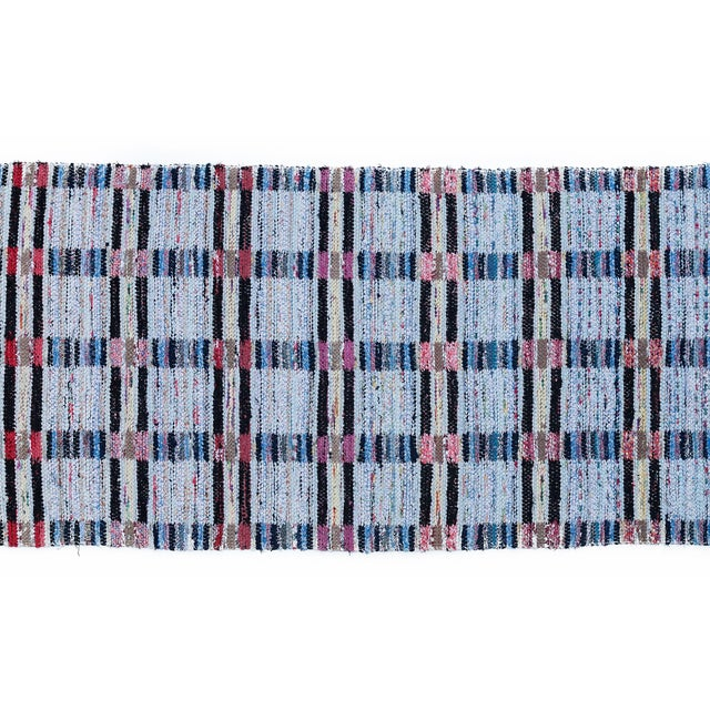 "Mid-Century Modern Handwoven Reversible Vintage Swedish Rug by Scandinavian Made 124"" x 33"" For Sale - Image 3 of 12"