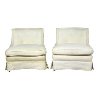 Pair of Art Deco Hollywood Regency Slipper Chairs For Sale