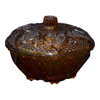 Anchor Hocking Renaissance Amber Glass Covered Dish For Sale