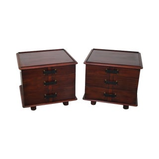 Paul Frankl Johnson Furniture Mahogany Station Wagon Nightstands- A Pair For Sale