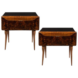 Pair of Mid-Century Italian Nightstands/End Tables in Exotic Bookmatched Wood For Sale