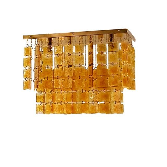 Mid Century Modern Honey/Brass Murano Glass Flush Mount Light by Sciolari For Sale In Dallas - Image 6 of 6
