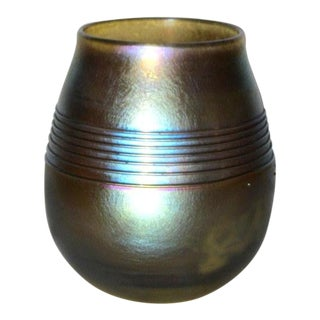 Tiffany Blue on Gold Iridescent Favrile Threaded Vase For Sale