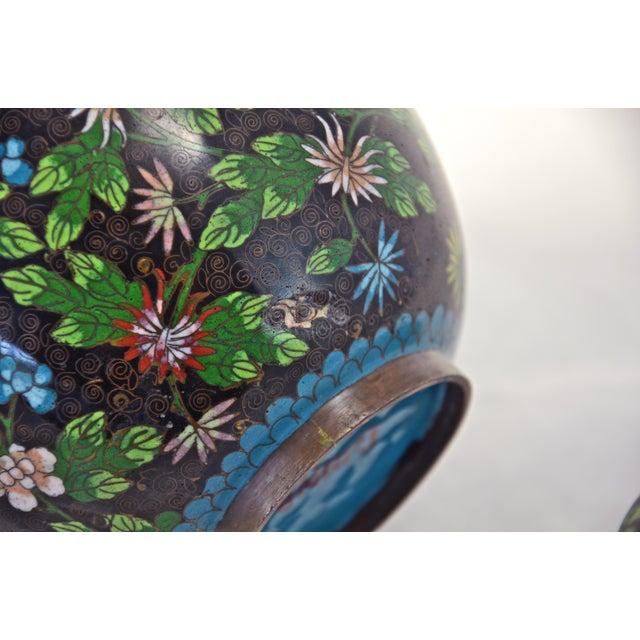 Antique Floral Cloisonné Longevity Jar - Image 9 of 9