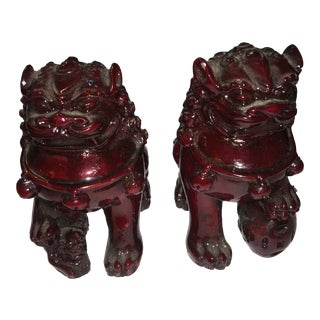 Chinese Red Cinnabar Foo Dogs - a Pair For Sale