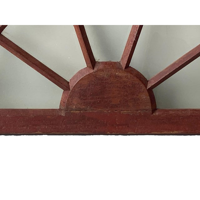 Rustic Half Round Distressed Wood Window For Sale - Image 10 of 12