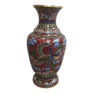 Vintage Cloisonné Oriental Vase Dragon and Phoenix For Sale