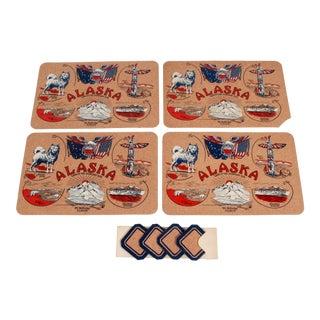 Vintage 1950's Alaska Lithographed Cork Placemats - Set of 4 For Sale
