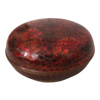 Mid-Century Red Cloisonné & Brass Box For Sale