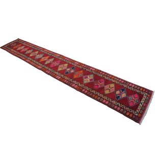 Hand Knotted Kurdish Tribal Runner Rug Very Long Runner- 2′9″ × 16′7″