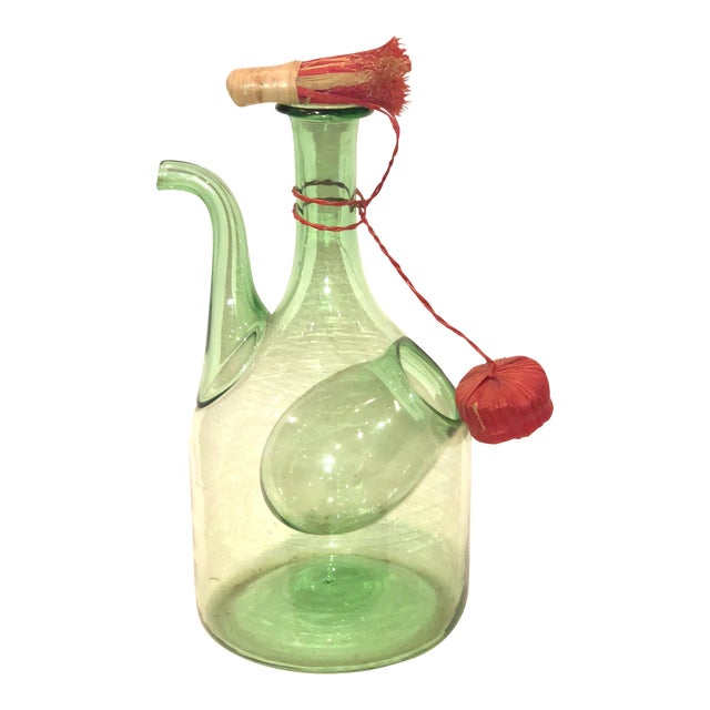 Green Blown Glass Wine Jug with Ice Bubble For Sale
