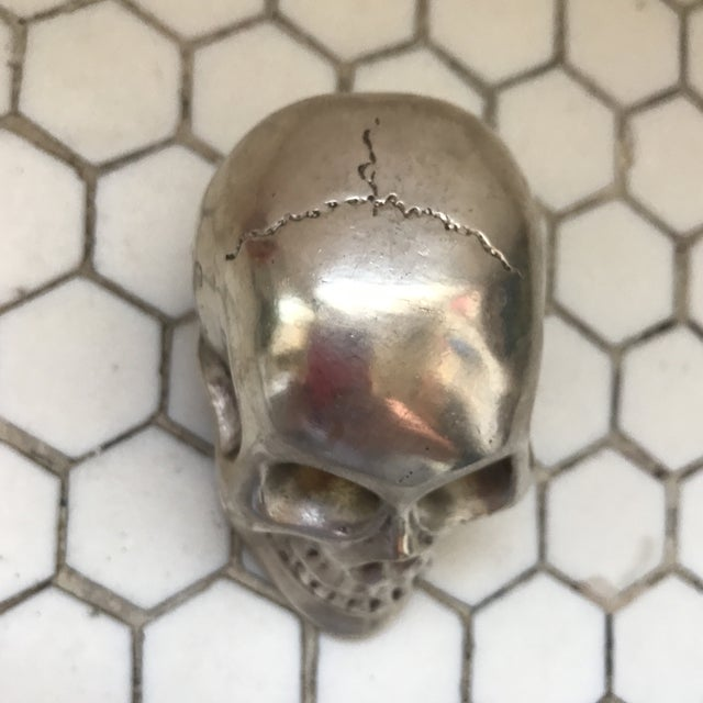 Vintage Silver Metal Skull For Sale - Image 11 of 12