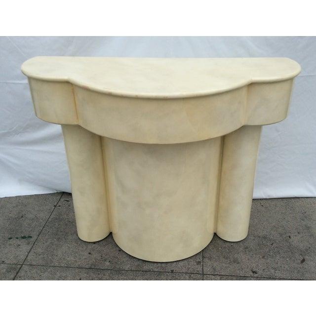 Vintage 1970s Faux Parchment Console Table - Image 2 of 11