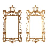 Image of Pair of Chinese Chippendale Gilt and Bronze Pagoda Mirrors For Sale