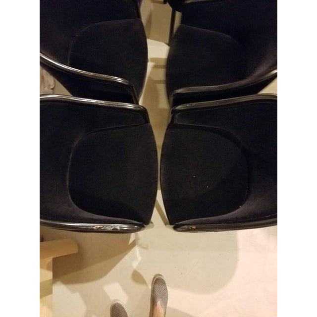 1980s 1980s Vintage Ward Bennett for Brickel Associates Walnut & Velvet Mohair Chairs - Set of 10 For Sale - Image 5 of 13
