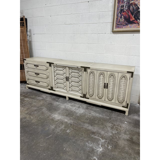 Rustic Monumental Thomasville Regency Style White Wash Credenza For Sale - Image 3 of 11