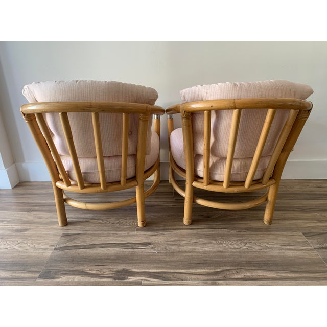 1970s Bamboo and Chrome Lounge Chairs- A Pair For Sale - Image 5 of 12