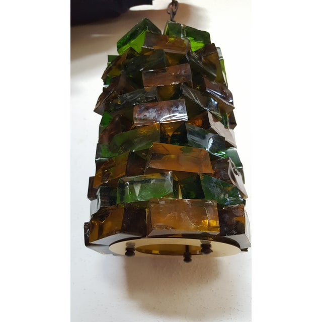 1950s Mid-Century Glass Block Chandelier Light For Sale - Image 5 of 6
