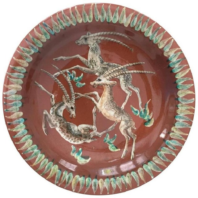 Ceramic Art Deco Antelope Majolica Wall Plate by Gustav Heinkel, 1940s For Sale - Image 7 of 7