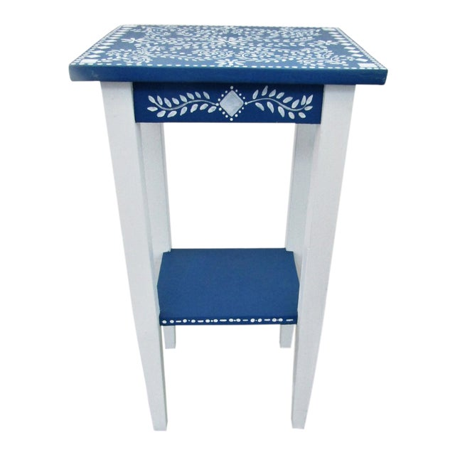 1970s Vintage Small Hand Painted Accent Side Table For Sale