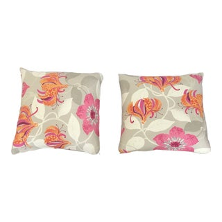 Floral Decorator's Pillows - A Pair For Sale