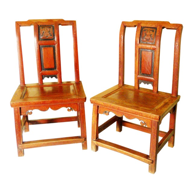 Antique Chinese Zelkova Wood Children Chairs - a Pair For Sale