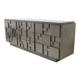 Custom Finish Brutalist Credenza by Lane Furniture For Sale