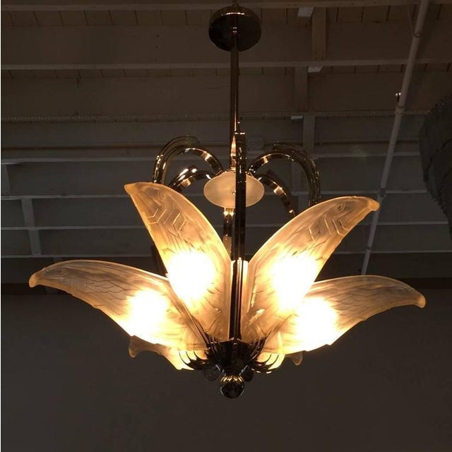 French Art Deco Chandelier with Geometric Flying Bird Motif For Sale - Image 10 of 10